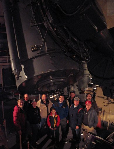 "Tired but triumphant, Keith Murdock, Paul Baldwin, Callan Carpenter, Jim Small, Cole Carpenter, Louis Berman, Ed Seimenn, Kent Marts Mike Malolepszy, and Don Marts pose in front of their new best friend: The 82"" Otto Struve."